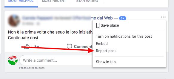 Segnalare recensione negativa a Facebook per la rimozione