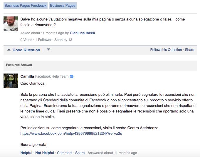 Eliminare e cancellare recensioni negative da Facebook