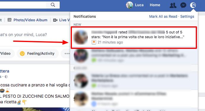 Gestione recensioni false Facebook