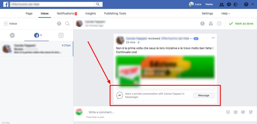 Risposta recensione Facebook