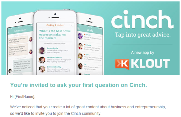 Cinch email from Klout.com